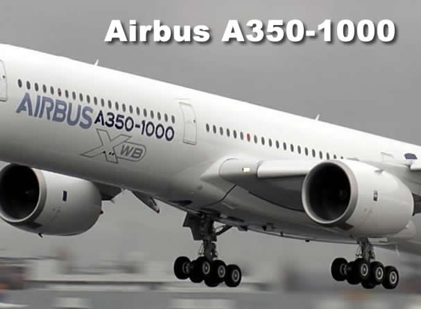 Airbus A350-1000 with its dual 6-wheel main landing gear design