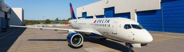 Delta Air Lines A220-100 airliner fresh out of the paint hanger