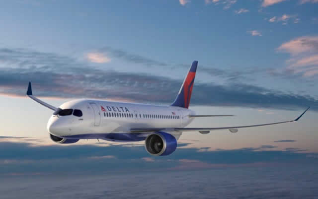 Delta Air Lines has placed an order for 75 A220-100 airliners. Shown below is a rendition of a A220 in Delta livery