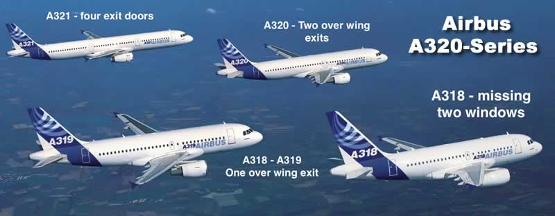 Spotting guide for the Airbus narrow body series of jetliners, including the A318, A319, A320 and A321