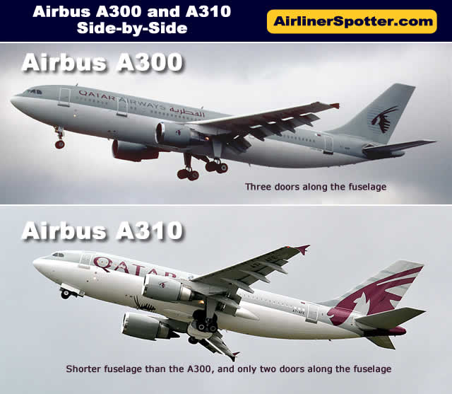 The chart below shows a side-by-side comparison of the Airbus A300 and A310