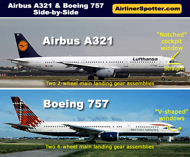 Side-by-side comparison of the Airbus A321 and the Boeing 757