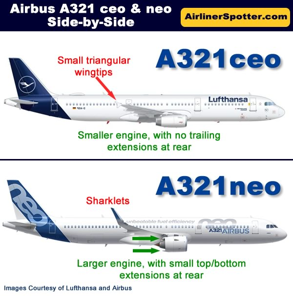 Side-by-side comparison of the Airbus A321ceo and A321neo