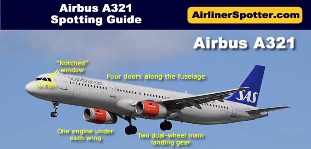 "The A321 has two engines under the wings, two dual-wheel main landing gear, four doors along the fuselage, and the classic Airbus nose featuring the ""notched"" window."