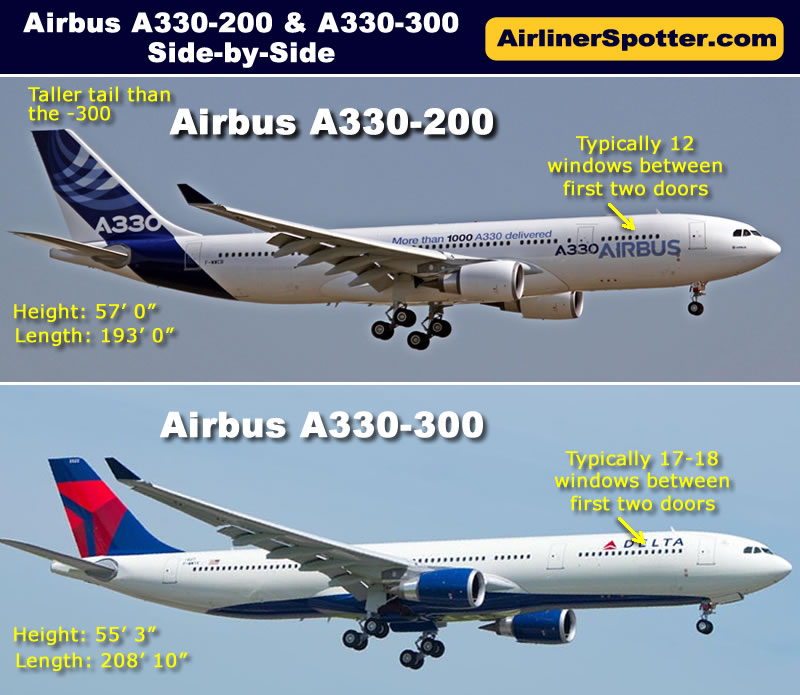 In-flight side-by-side comparison of the Airbus A330-200 (top) and A330-300 (bottom)