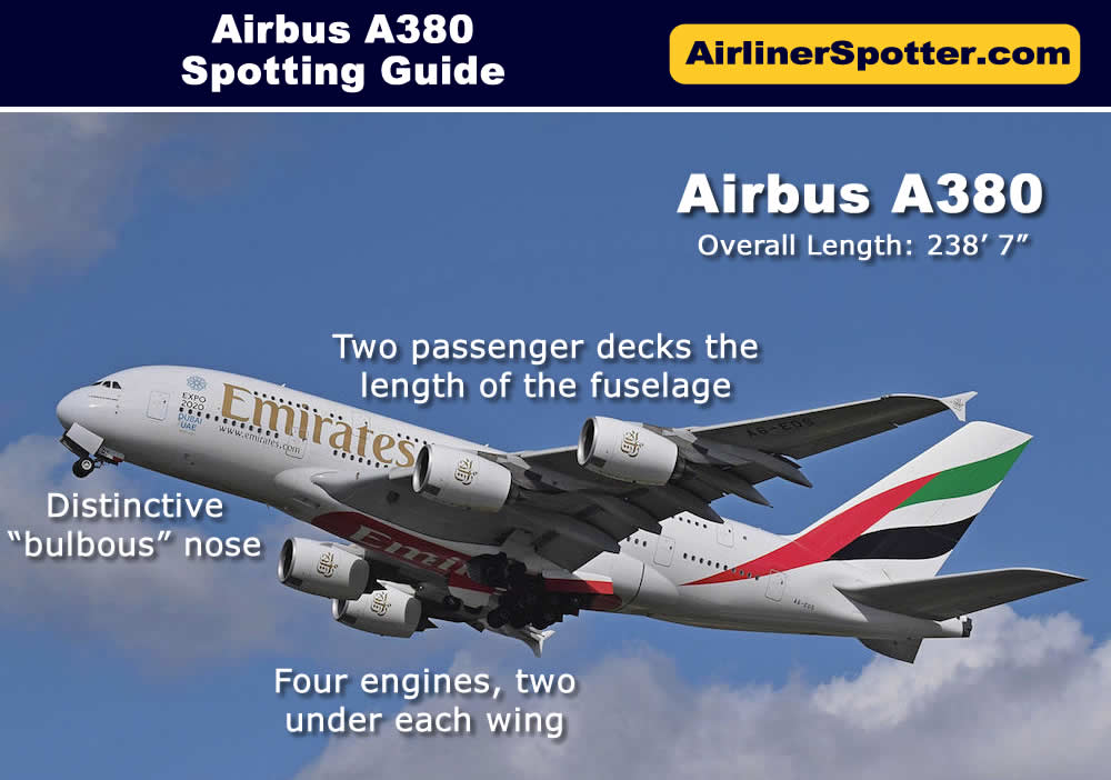 The A380 is easy to spot, with its two full-fuselage passenger decks and four engines. Shown here is an Emirates Airbus A380