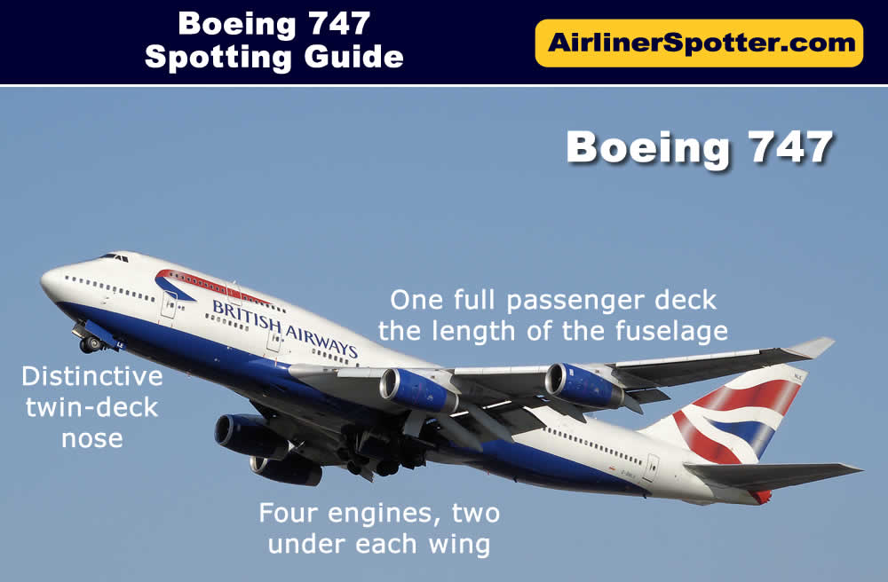The Boeing 747 with its four engines, one full passenger deck the length of the fuselage, and bulbous front fuselage is an easy spot. Shown below is a Boeing 747-400 of British Airways.