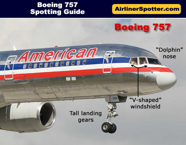 American Airlines Boeing 757 identified by its dolphin-shaped nose