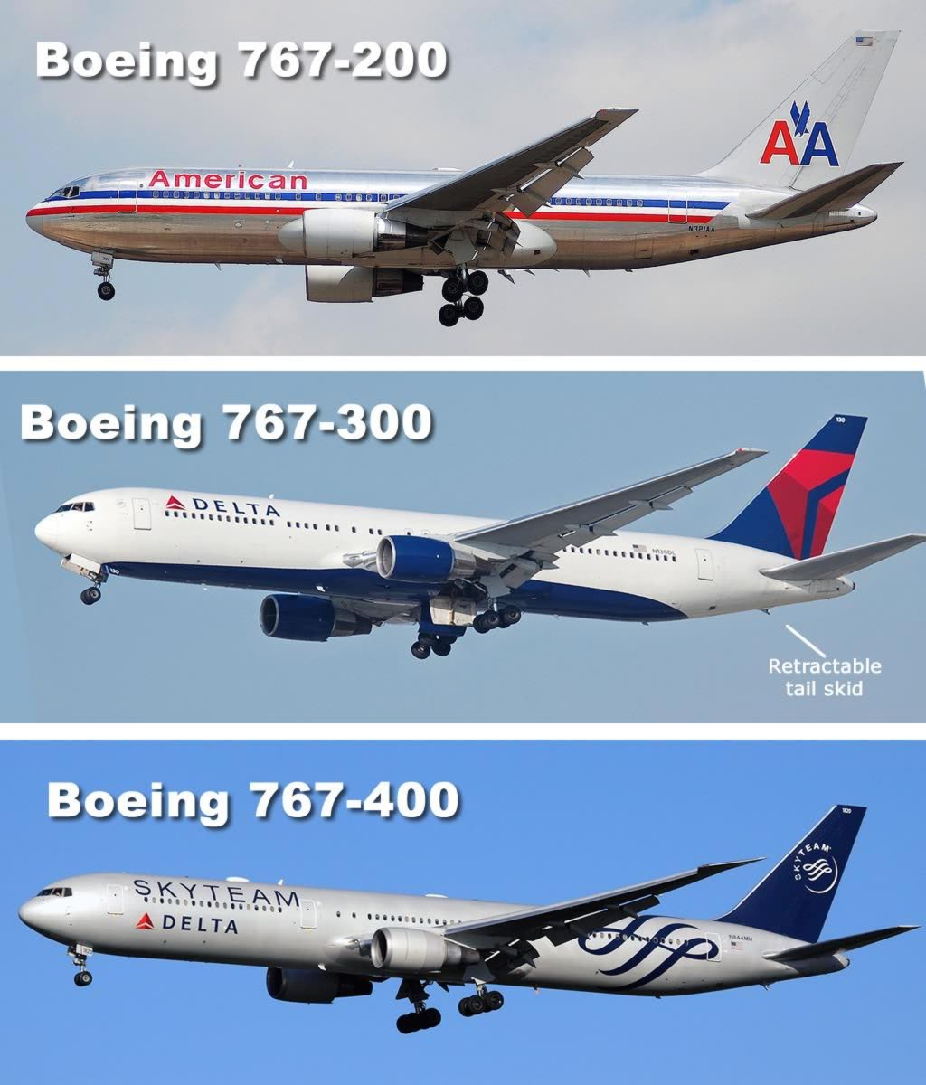 Spotter tips for the Boeing 767-200 (top) and 767-300 (bottom). The main landing gear fall towards the front.