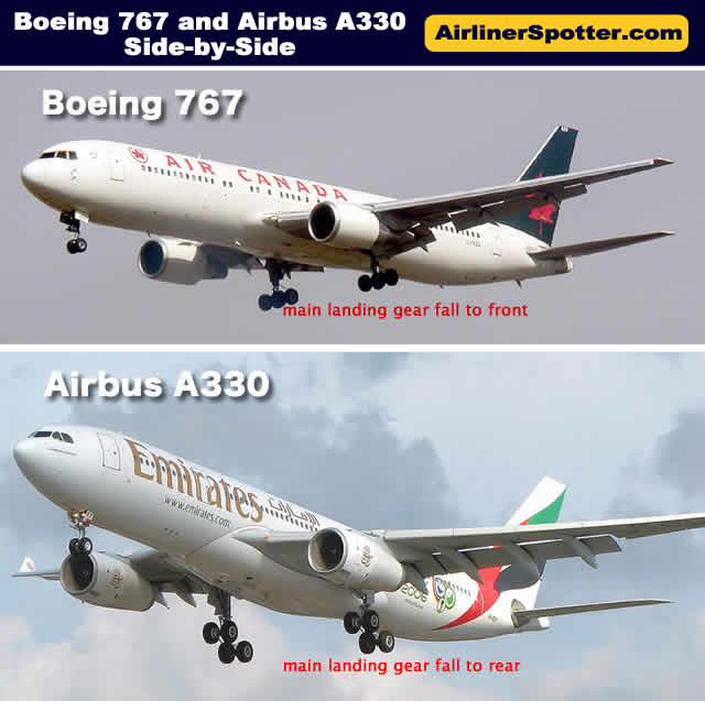 Boeing 767 and Airbus A330 spotting guide