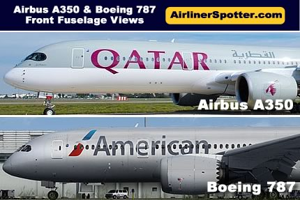 Airbus and Boeing Airliner Side-by-Side Comparisons, Identification