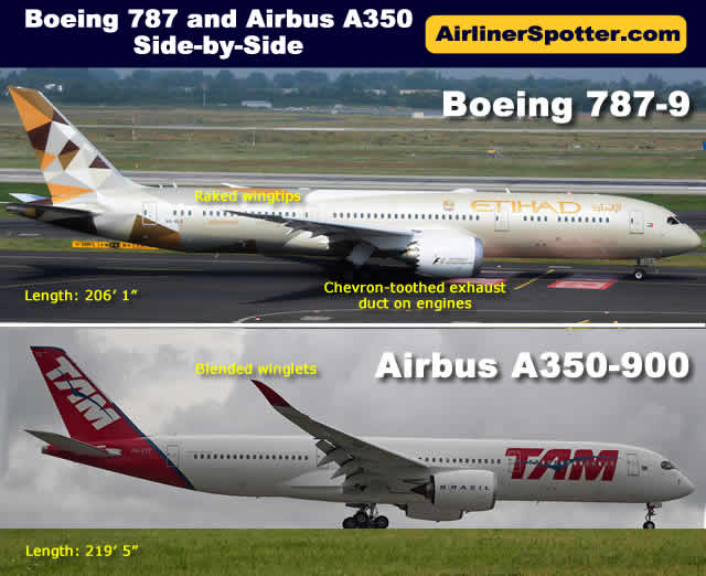 Side-by-side view of the Boeing 787-9 (top) and Airbus A350-900 (below)