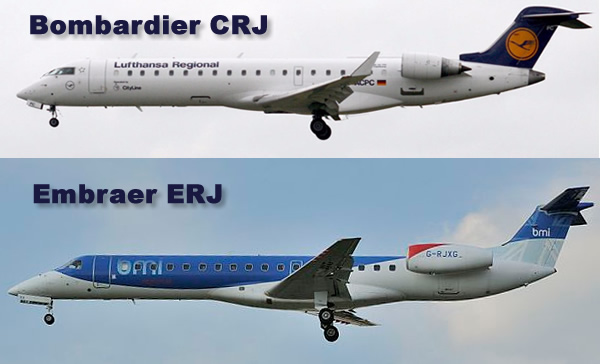 Side-by-side comparison of a Bombardier CRJ regional jet and an Embraer ERJ regional jet