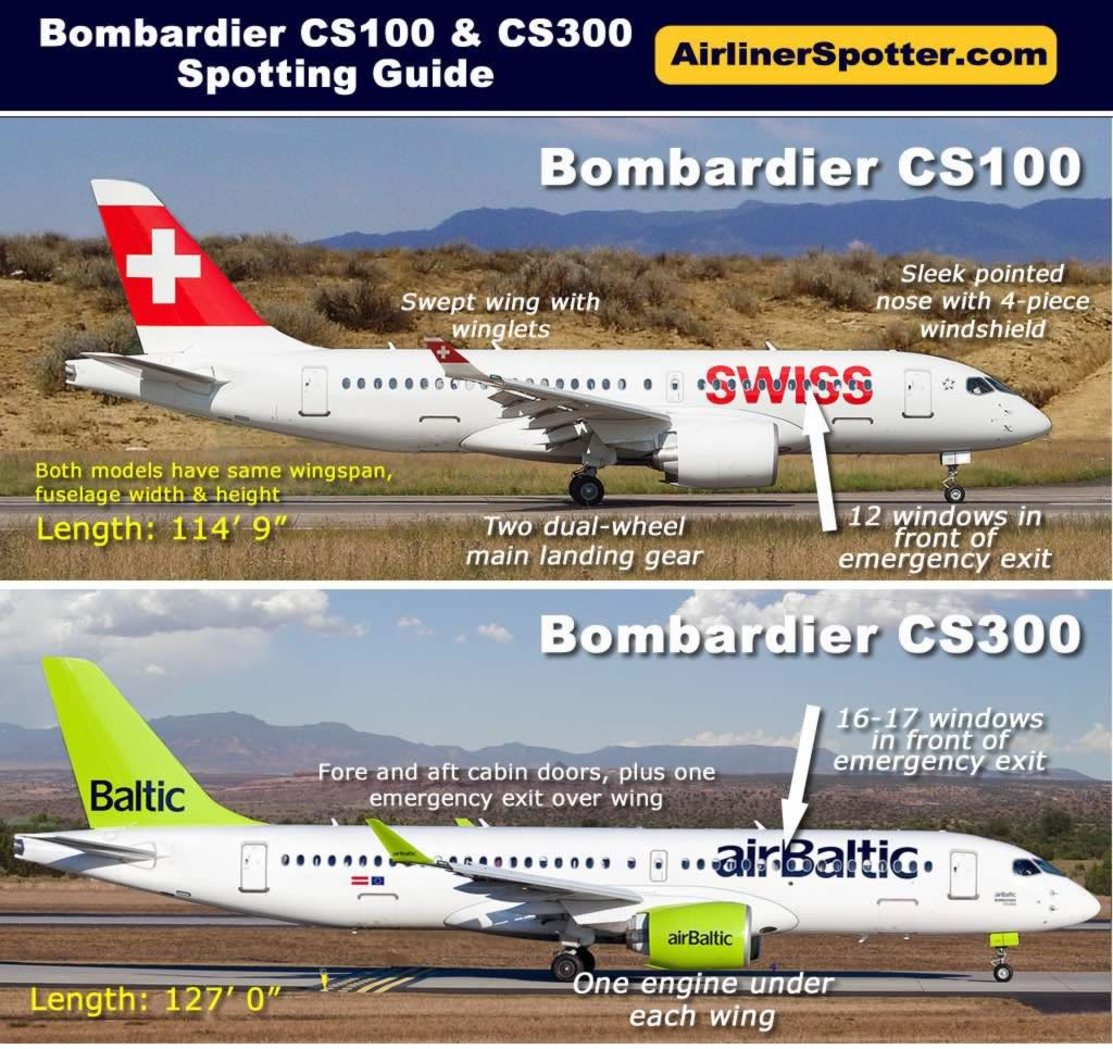 Side-by-side comparison of the Bombardier CS100 and CS300, with two engines mounted under the wings, winglets, two dual-wheel main landing gear and four-piece windshield.