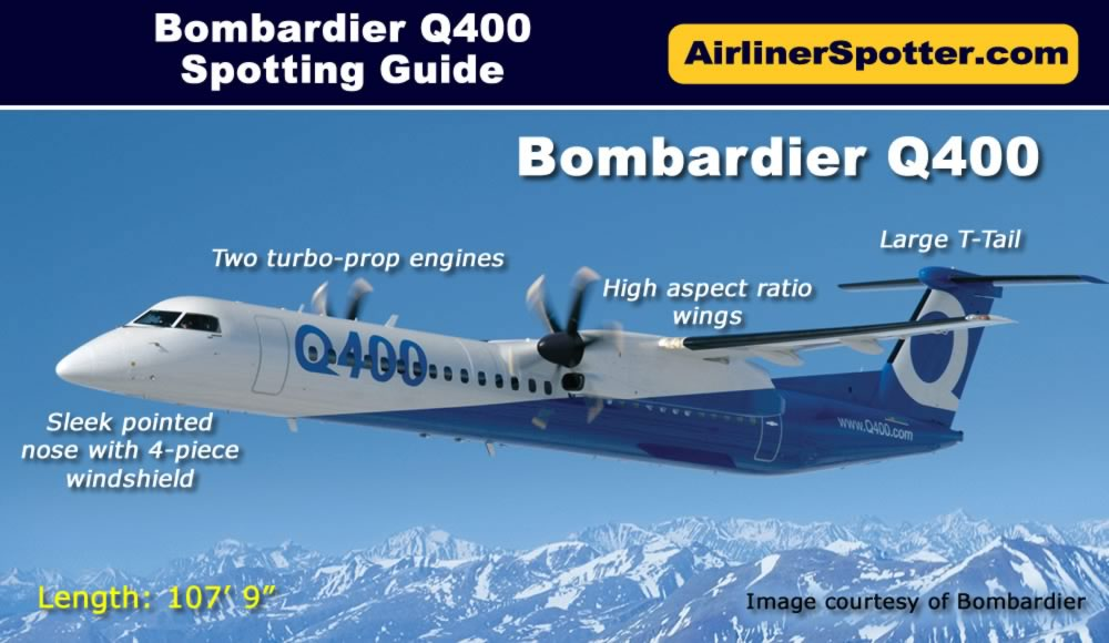 Spotting guide for the Bombardier Q400 - large T-tail, a high aspect ratio wing, elongated engine nacelles, pointed nose and 4-piece windshield.