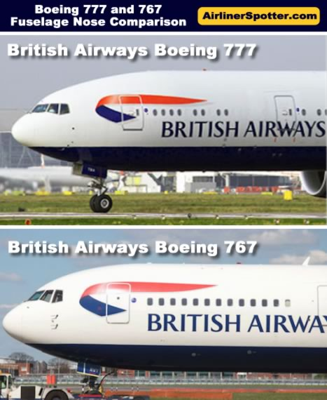 British Airways Boeing 777 (top) and Boeing 767 (below) showing differences in the overall front fuselage design.