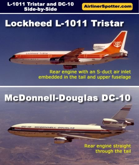 Spotting chart showing a side-by-side comparison of the Lockheed L-1011 and McDonnell-Douglas DC-10