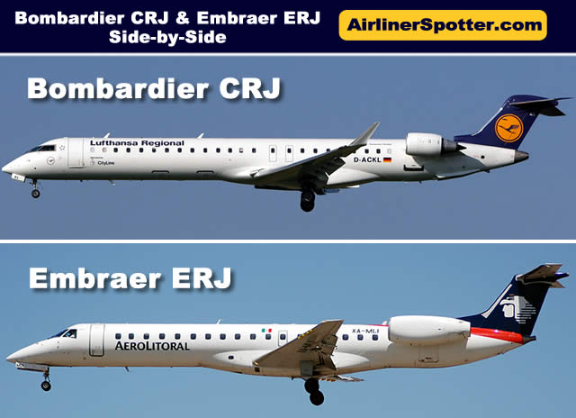Chart showing a side-by-side fuselage view of a Bombardier CRJ regional jet (top) and an Embraer ERJ jet (bottom)