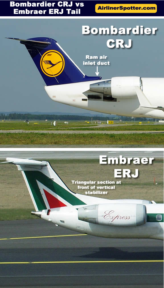 Comparison of the tail structures of the Bombardier CRJ (top) and Embraer ERJ (bottom) regional jets