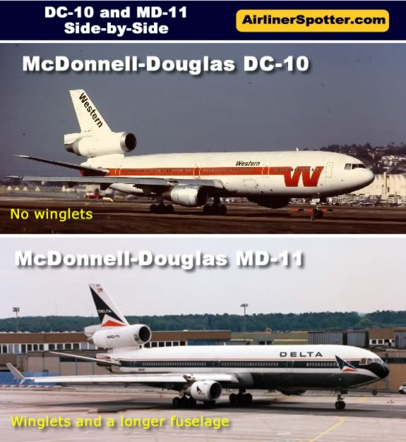 Side-by-side comparison of the Mcdonnell-Douglas DC-10 and MD-11