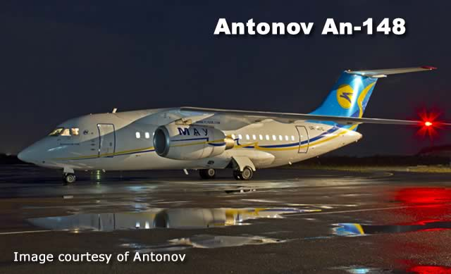 Antonov An-148, a twin-jet regional airliner