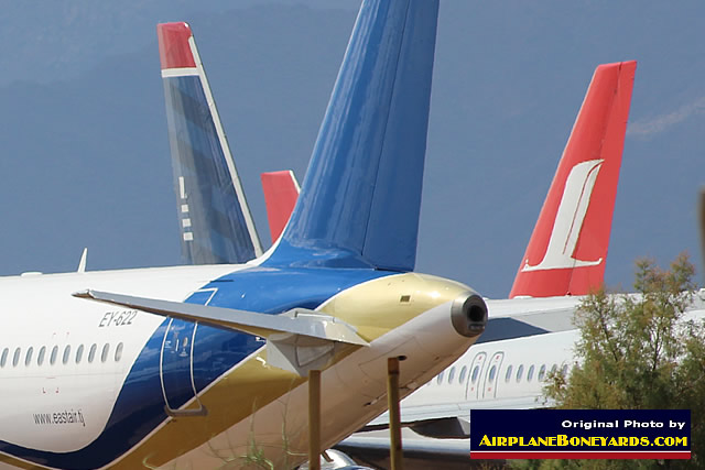 Jetliners in storage at the Phoenix Goodyear Airport in the Arizona desert