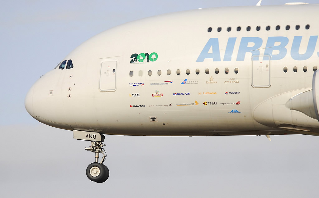 "Airbus A380-800, Registration F-WWDD, at the Châteauroux-Centre ""Marcel Dassault"" Airport in France"