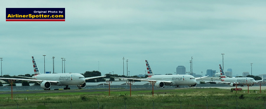 American Airlines Boeing 777, 787 and 737 airliners awaiting takeoff at the DFW International Airport