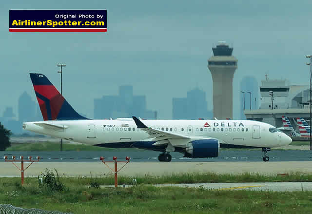 Delta Air Lines A220-100, registration N114DU, awaits takeoff at the DFW Airport