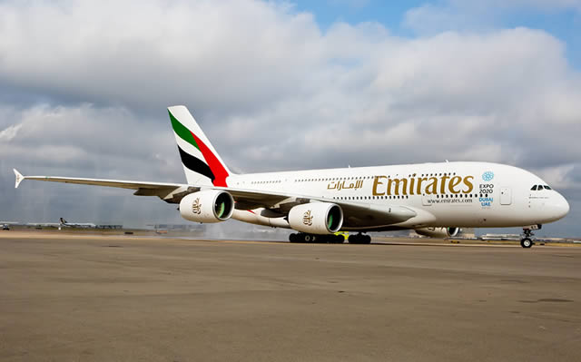 Emirates Airbus A380 on the apron at DFW Airport