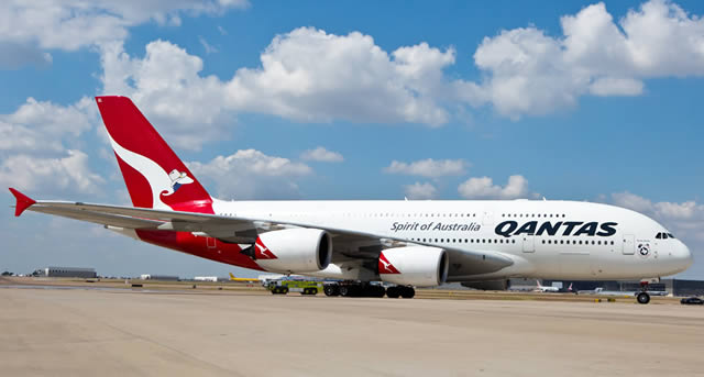 Qantas Airbus A380 at the DFW Airport in Texas