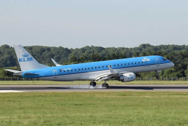 KLM Embraer ERJ-190 with its twin jets mounted under the wings