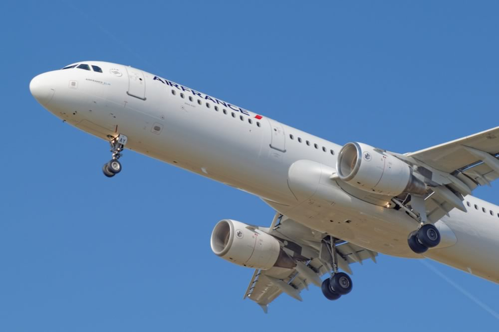 Photo of Air France A321 showing the landing gear arrangement and wing design