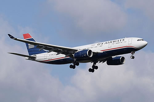 US Airways Airbus A330-200 in a landing approach