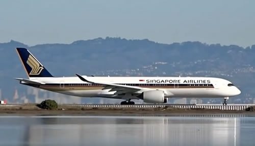 Airbus A350-900 of Singapore Airlines at San Francisco International Airport (SFO) in California