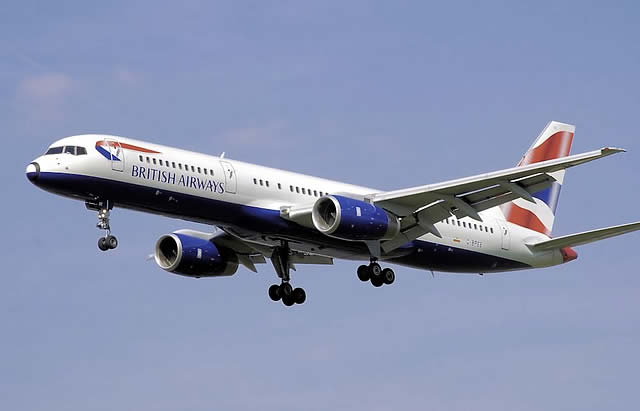 In this photograph of a British Airways Boeing 757-200, the long and narrow fuselage is clearly seen. It has high ground clearance thanks to its tall landing gears