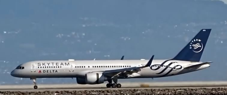 Boeing 757 of Delta Skyteam at San Francisco International Airport (SFO) in California