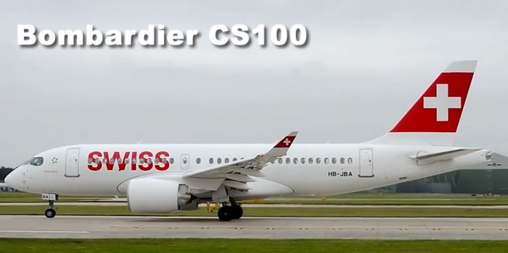 Bombardier CS100 of Swiss Air, registration HB-JBA, one of the initial CS100 deliveries