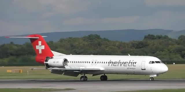 Out of production but still in service are the twin-engine Fokker 70 and Fokker 100. Shown below is a F-100 of Helvetic Airways.