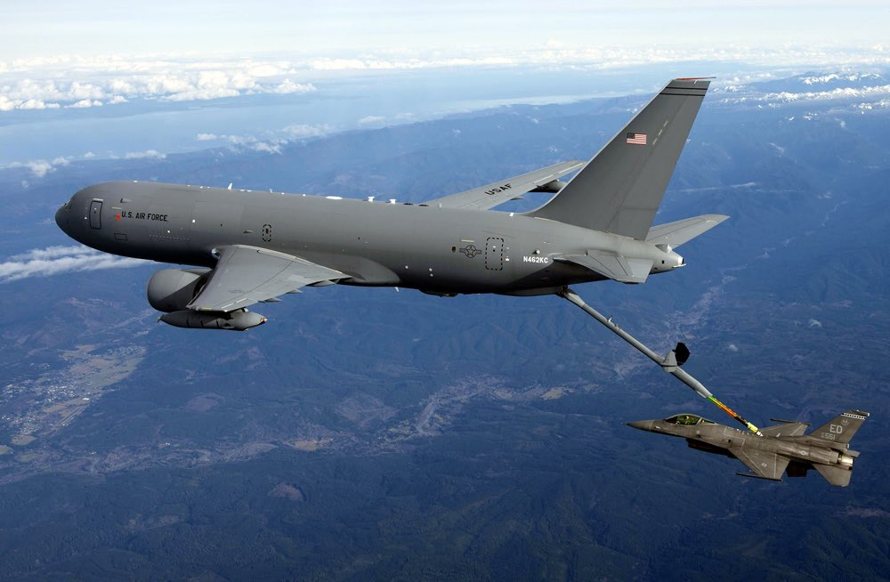 Boeing KC-46A Pegasus tanker during aerial refueling operations