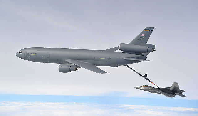 KC-10 Extender of the United States Air Force during in-flight refueling operations with a F-22 Raptor